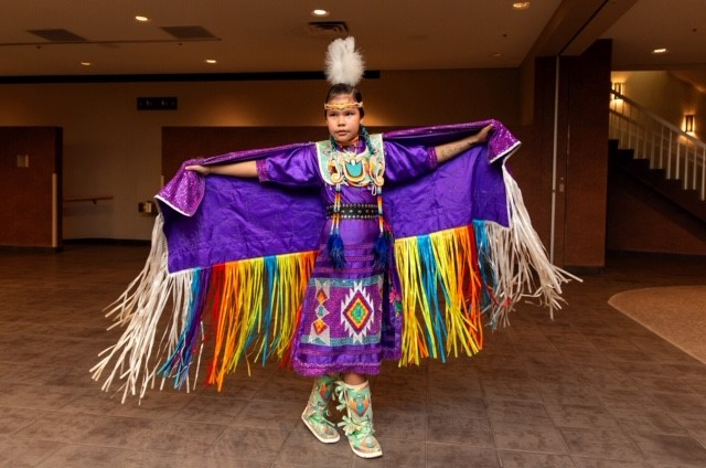 SKArts - Thunderchild and Candline's daughter, Haedyn, dancing in regalia created by Candline.