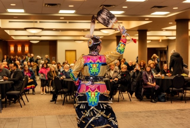 SKArts - Randi Candline performs a Jingle Dress Dance.